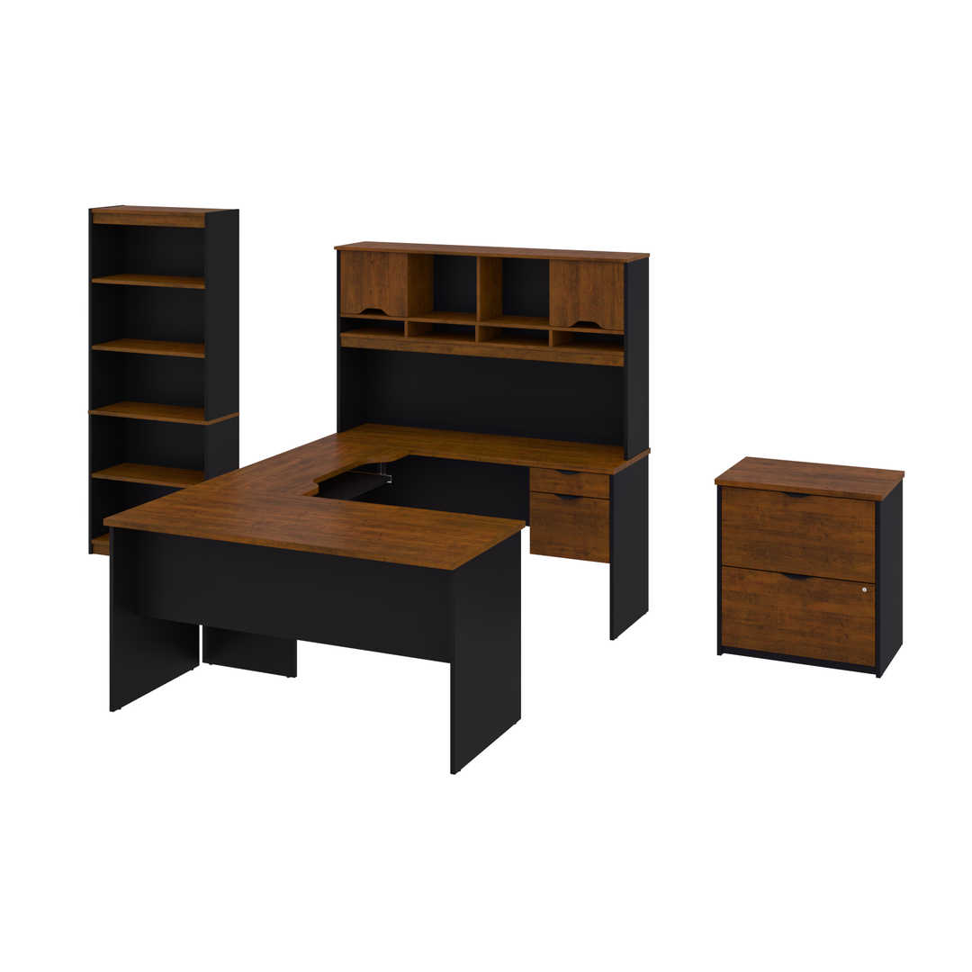 Innova U Or L Shaped Desk With Hutch A Lateral File Cabinet And A Bookcase Bestar