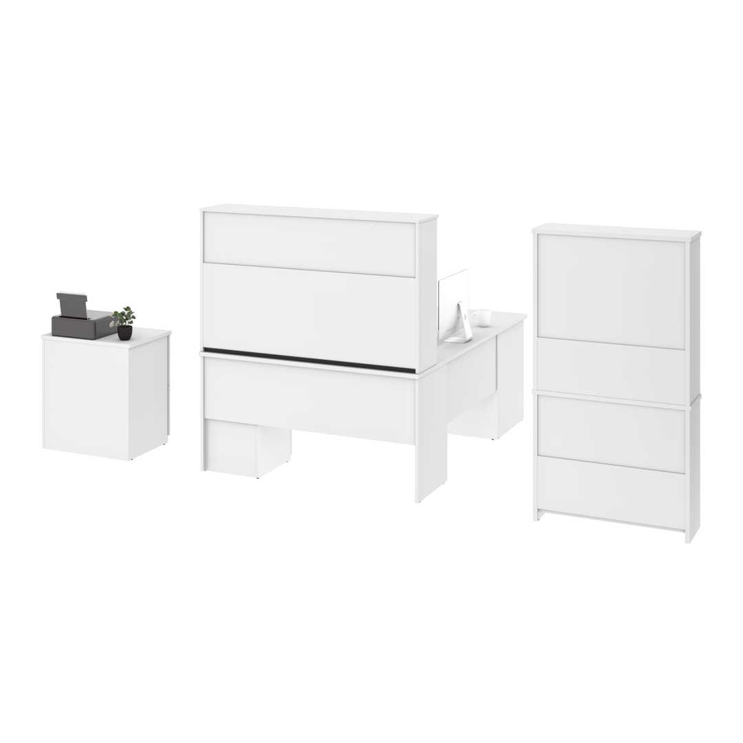 Innova U Or L Shaped Desk With Pedestal And Hutch 1 Lateral File Cabinet And 1 Bookcase Bestar