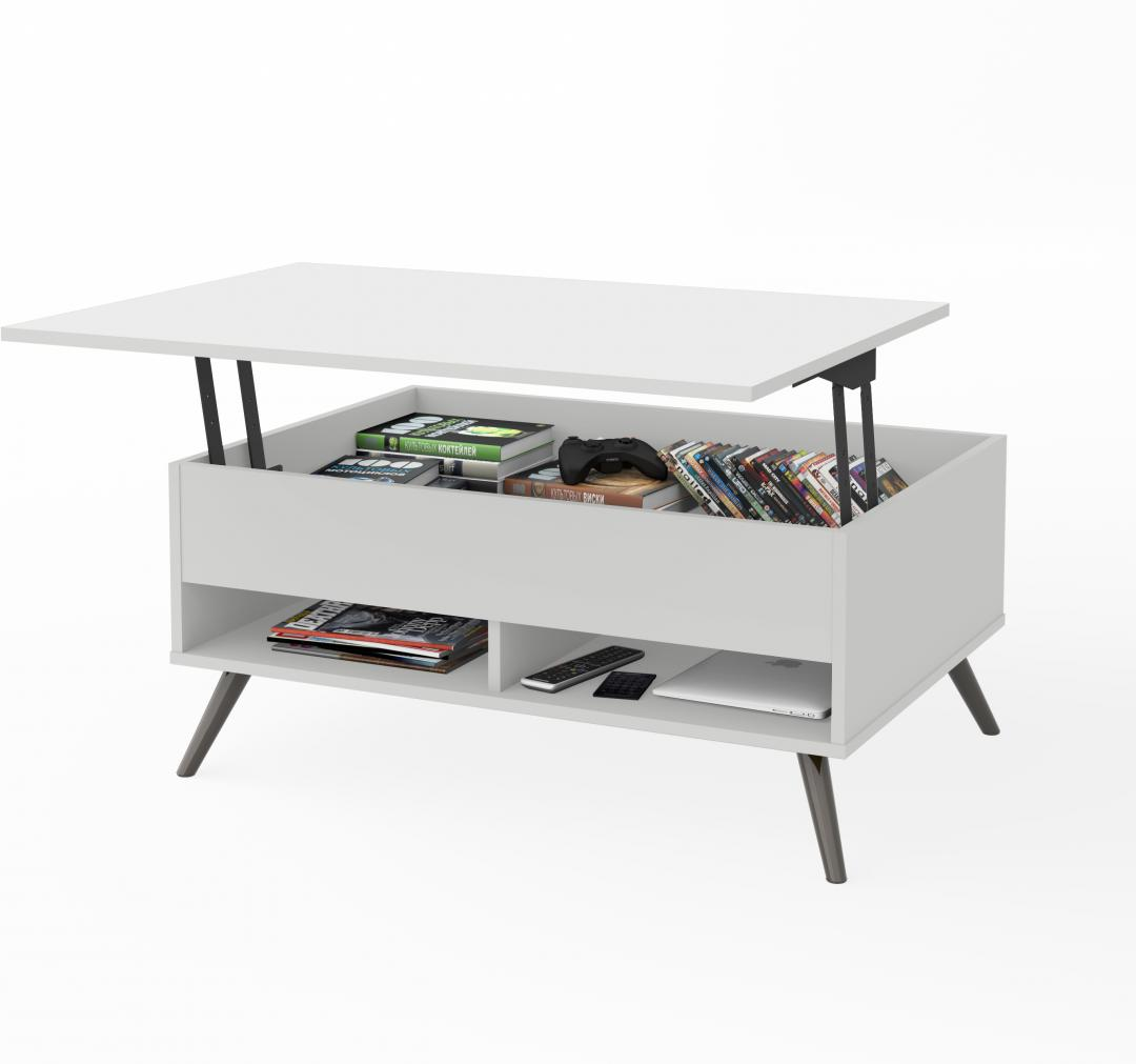"37"" Lift-Top coffee Table with metal legs"