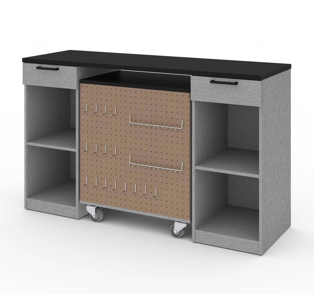2-Piece Set:  2-Drawer Workbench and Mobile Storage Cabinet