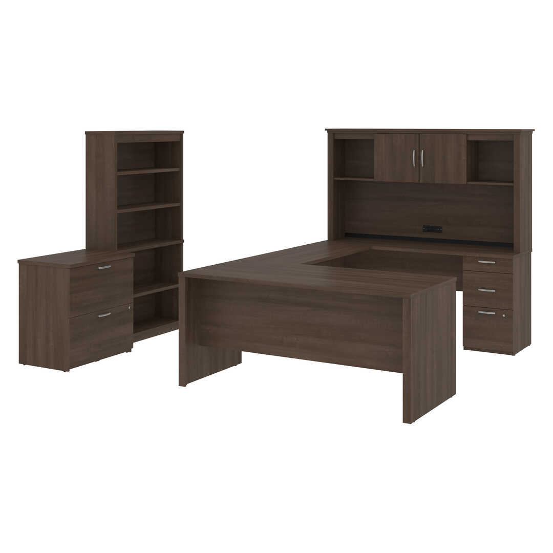 66W U-Shaped Desk with Hutch, Lateral File Cabinet, and Bookcase