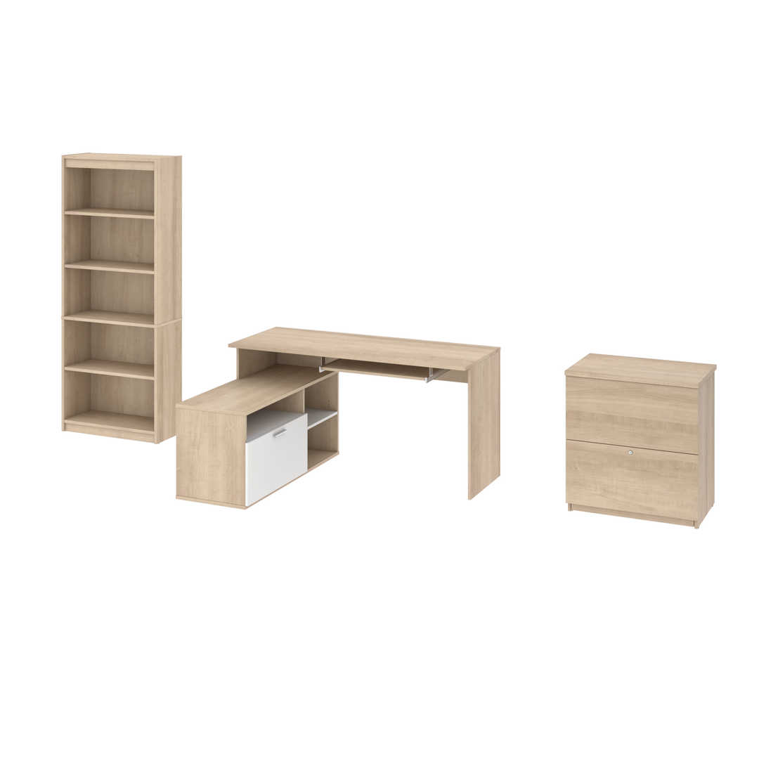 3-Piece set including a small L-shaped desk, a Lateral File cabinet, and a bookcase