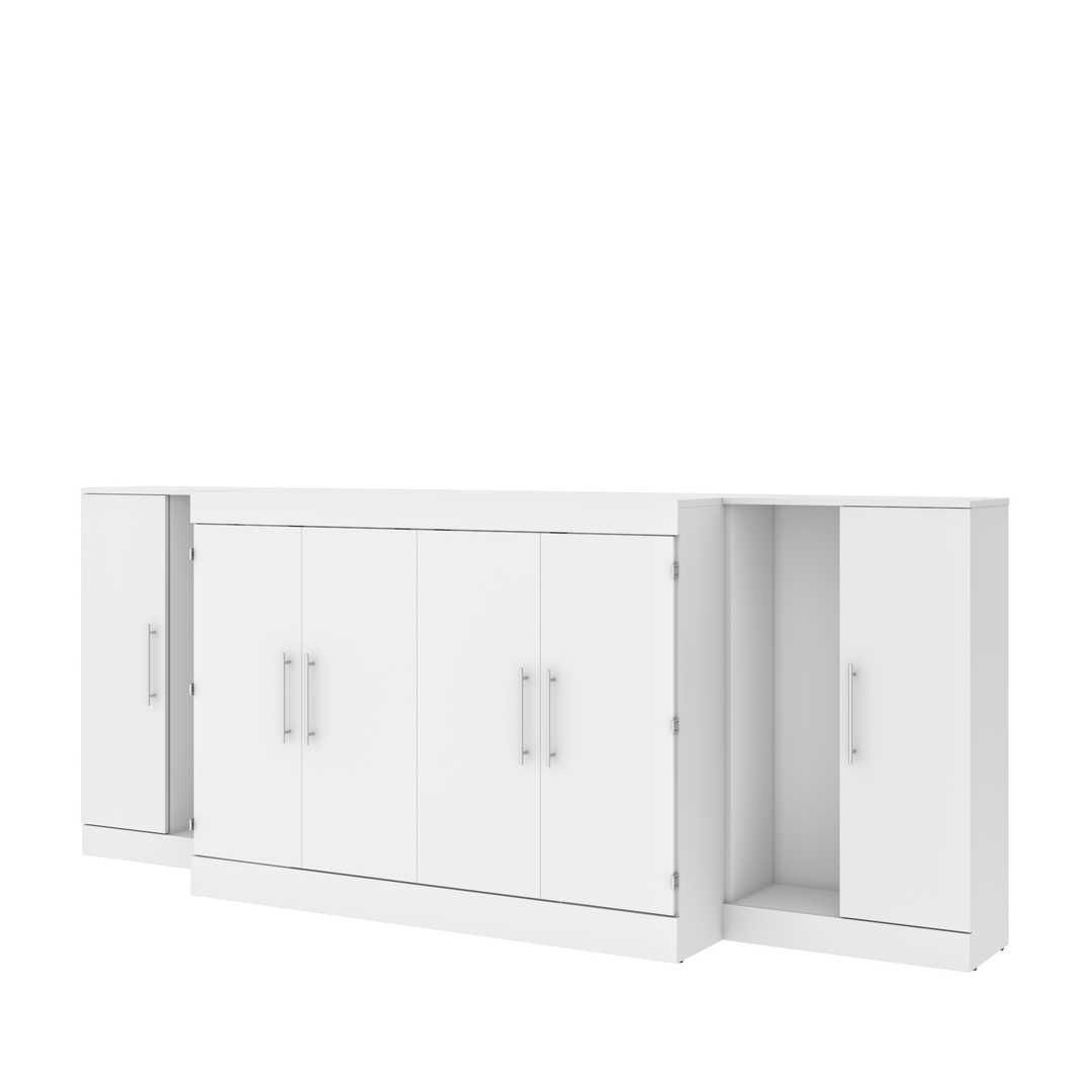 3-Piece Set Including One Full Cabinet Bed with Mattress and Two 26″ Storages Unit for Cabinet Beds