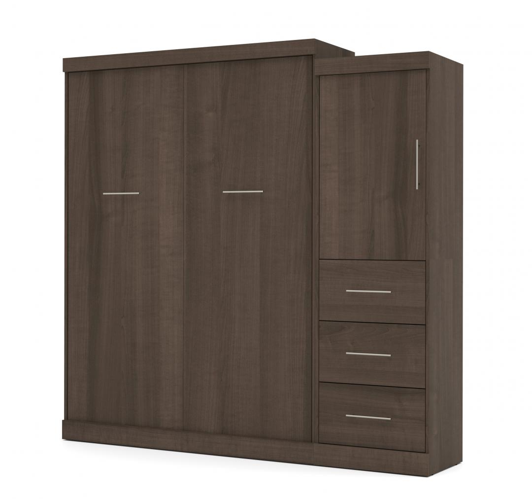 Queen Murphy Bed with Mattress and Storage Unit with Drawers (90W)
