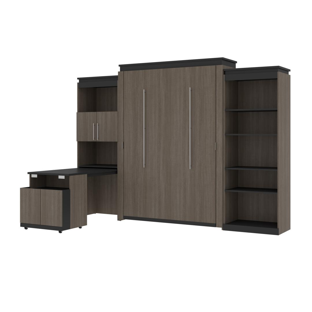 Queen Murphy Bed with Shelving and Fold-Out Desk (125W)