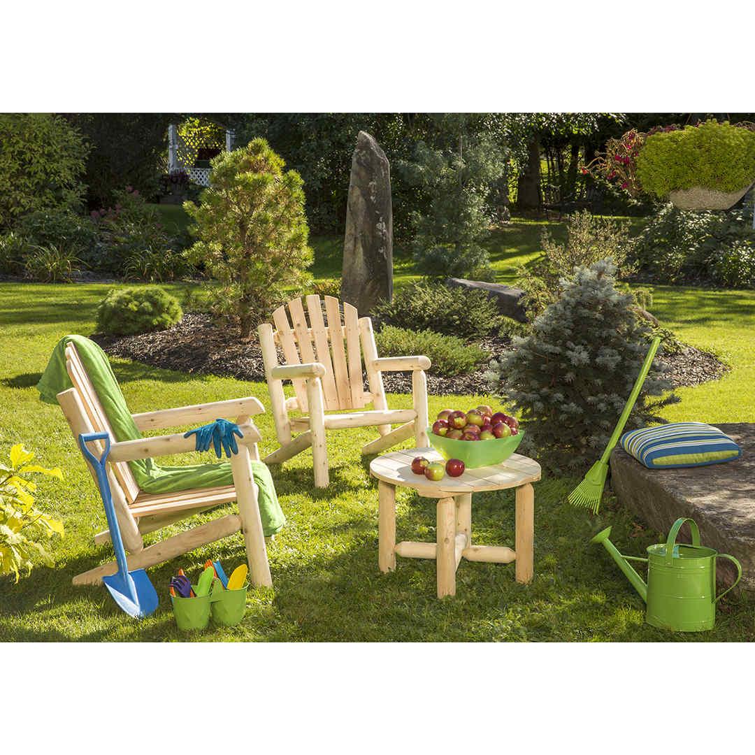 Outdoor Cedar White Cedar 2 Chairs and Coffee Table Set ...