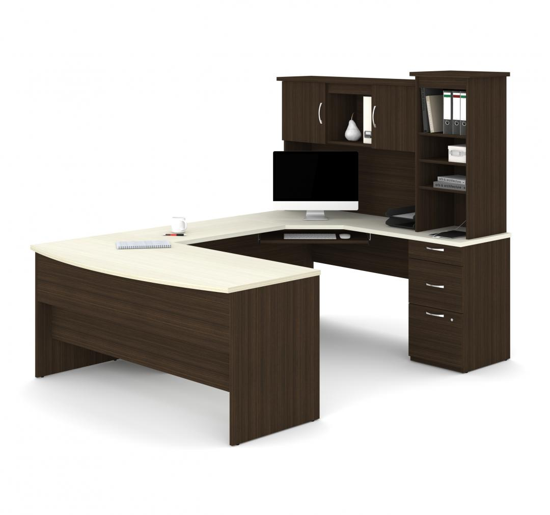Outremont U or L-Shaped Executive Desk with Pedestal and Hutch  Bestar