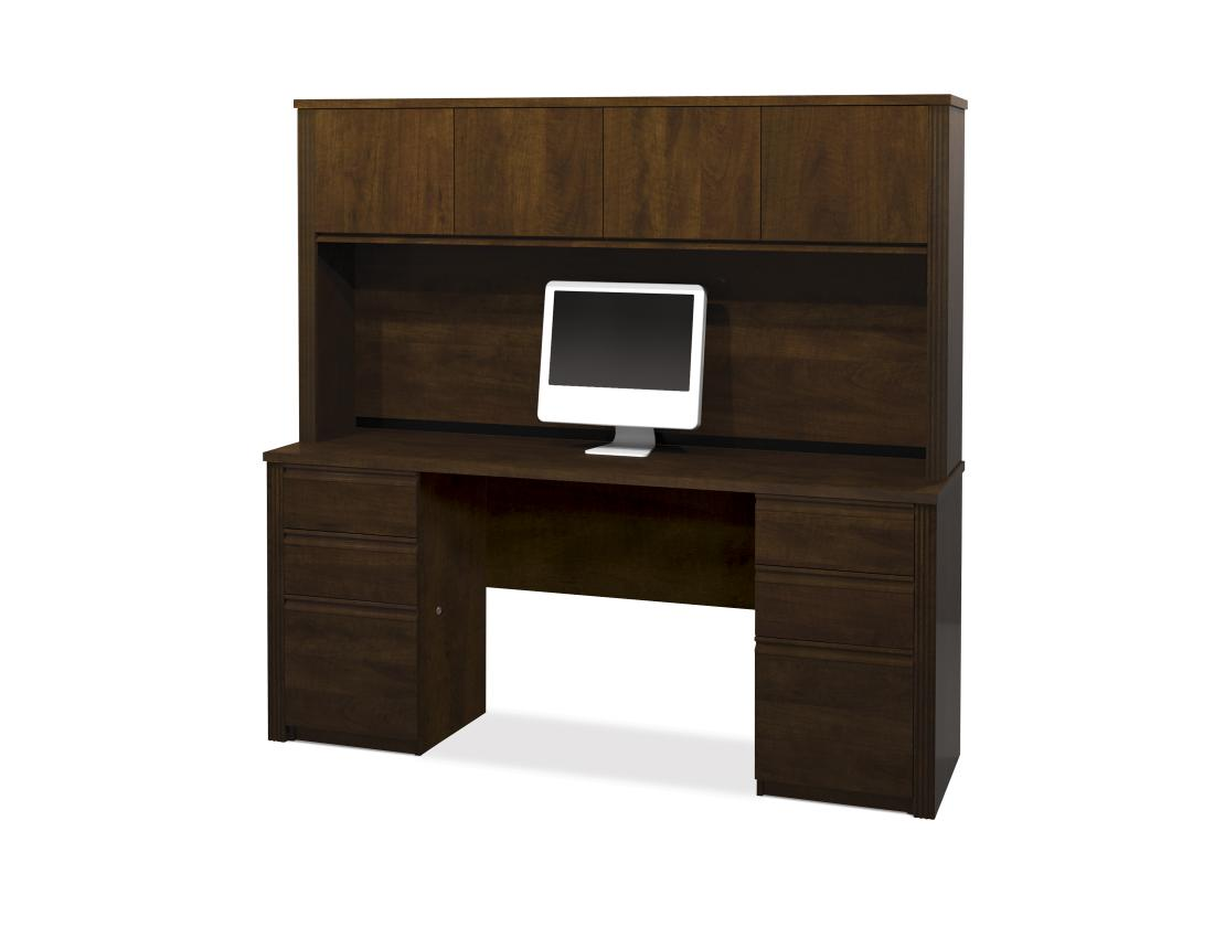 72W Credenza Desk with Two Pedestals and Hutch