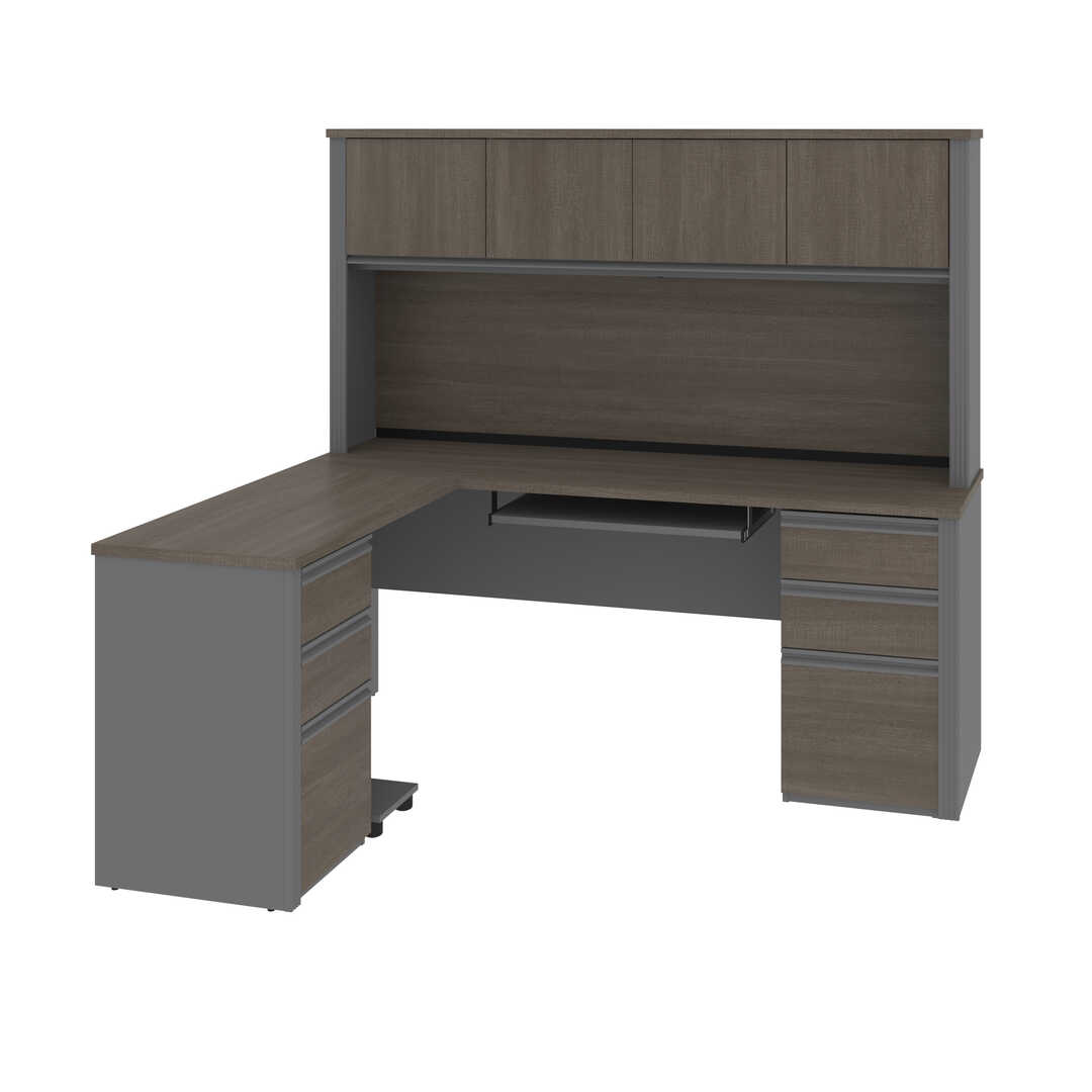 Prestige Modern L Shaped Office Desk With Two Pedestals And Hutch Bestar