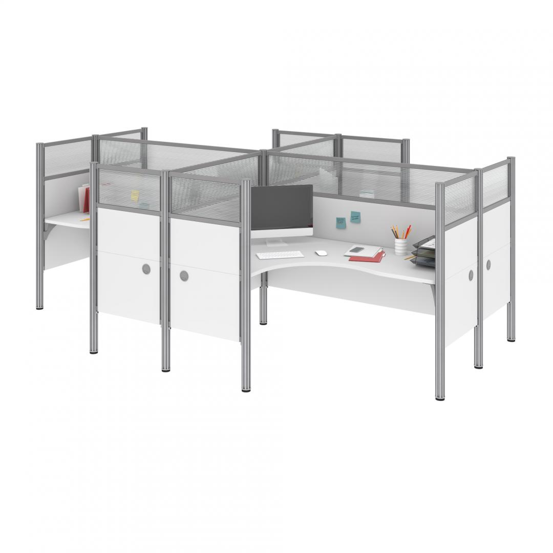 4-Person Closed Office Cubicles with High Privacy Panels