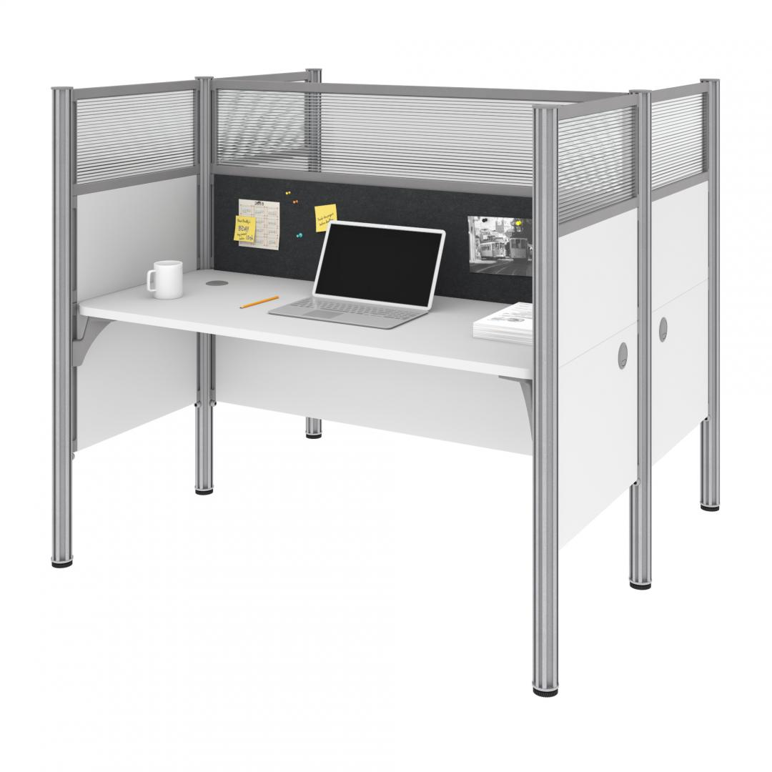 Two Face-to-Face Office Cubicles with Gray Tack Boards and High Privacy Panels