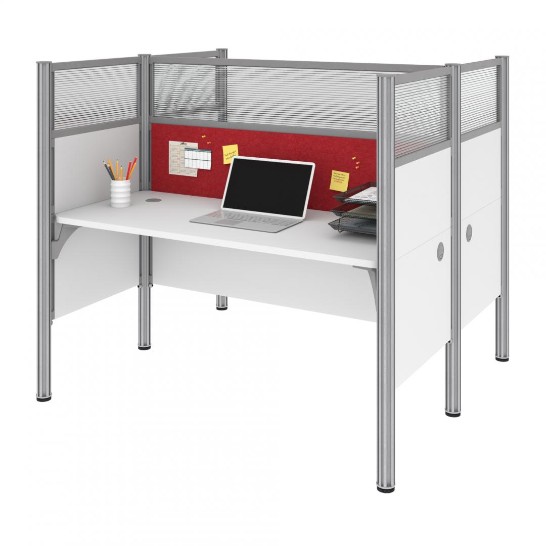 Two Face-to-Face Office Cubicles with Red Tack Boards and High Privacy Panels