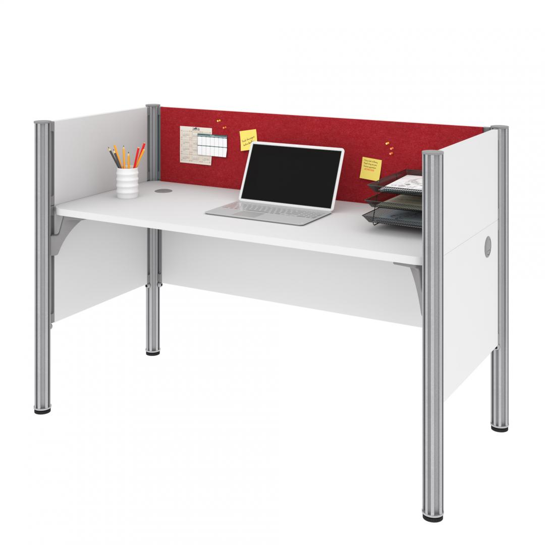 Single Office Cubicle with Red Tack Board and Low Privacy Panels