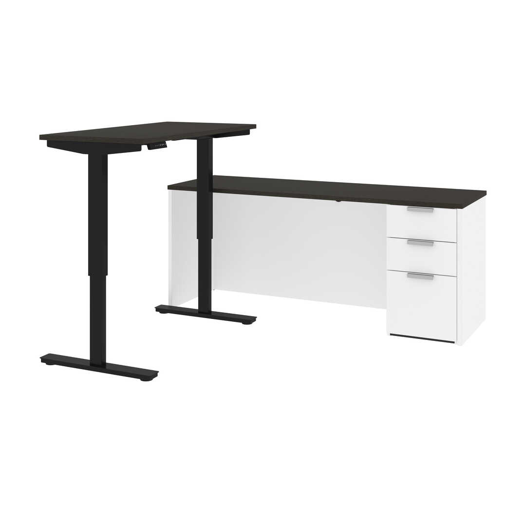 72W L-Shaped Standing Desk with Pedestal