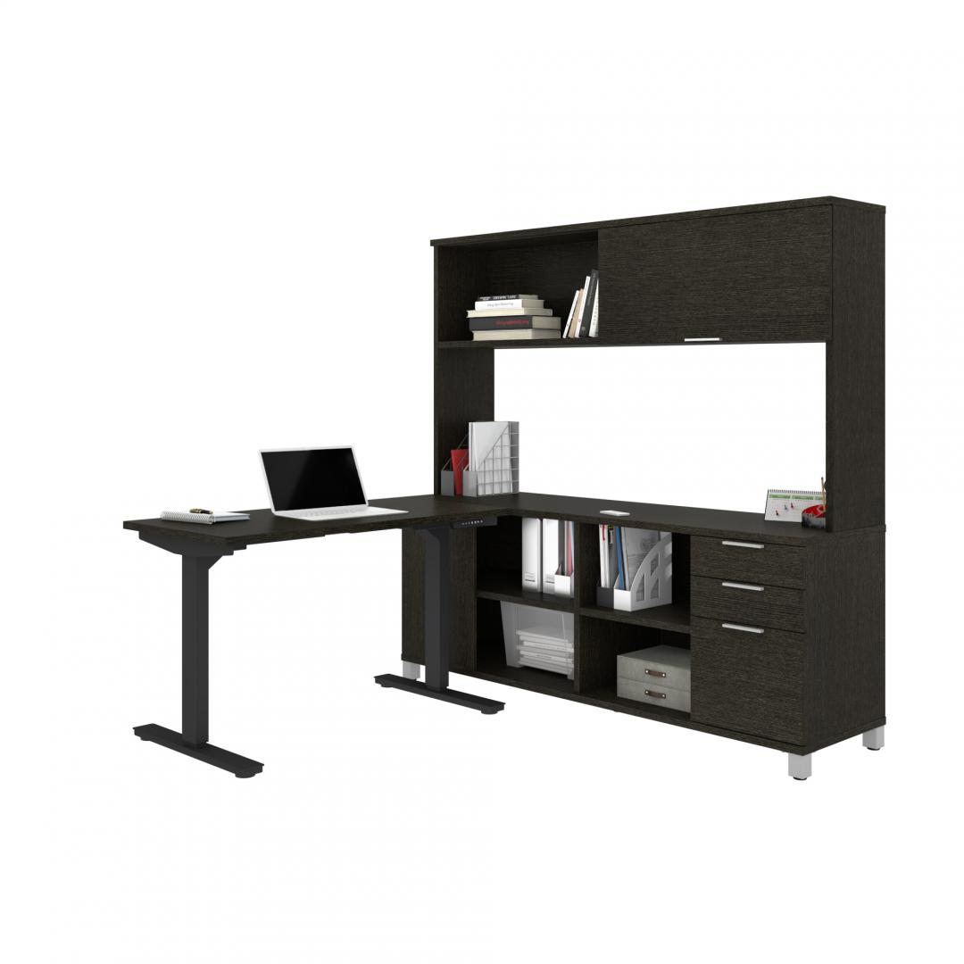 72W L-Shaped Standing Desk with Hutch