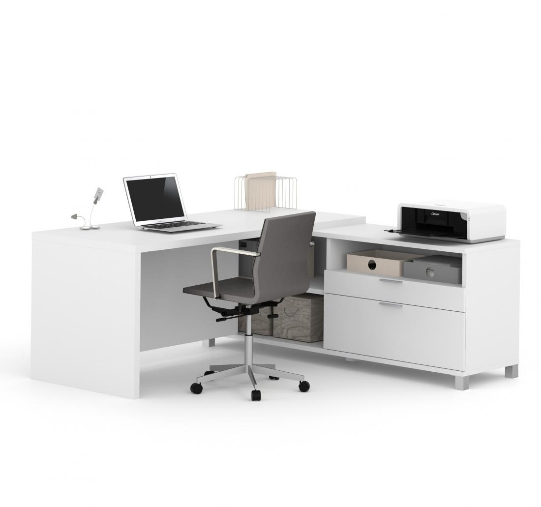 72W L-Shaped Office Desk