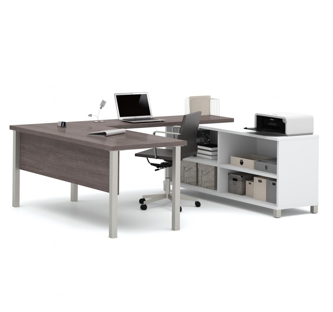 72W U-Shaped Executive Desk with Metal Legs