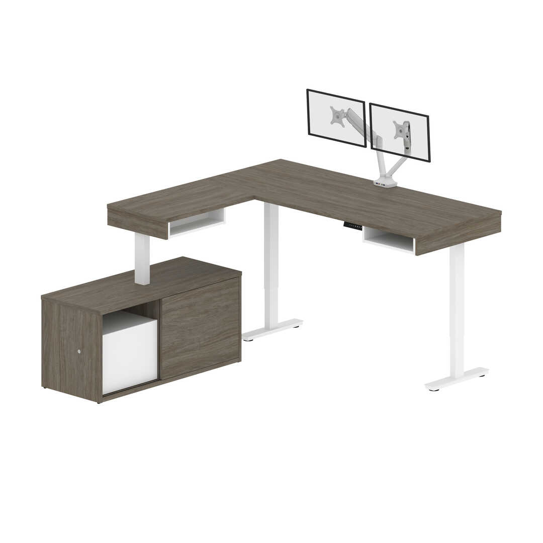 81W L-Shaped Standing Desk with Dual Monitor Arm and Credenza