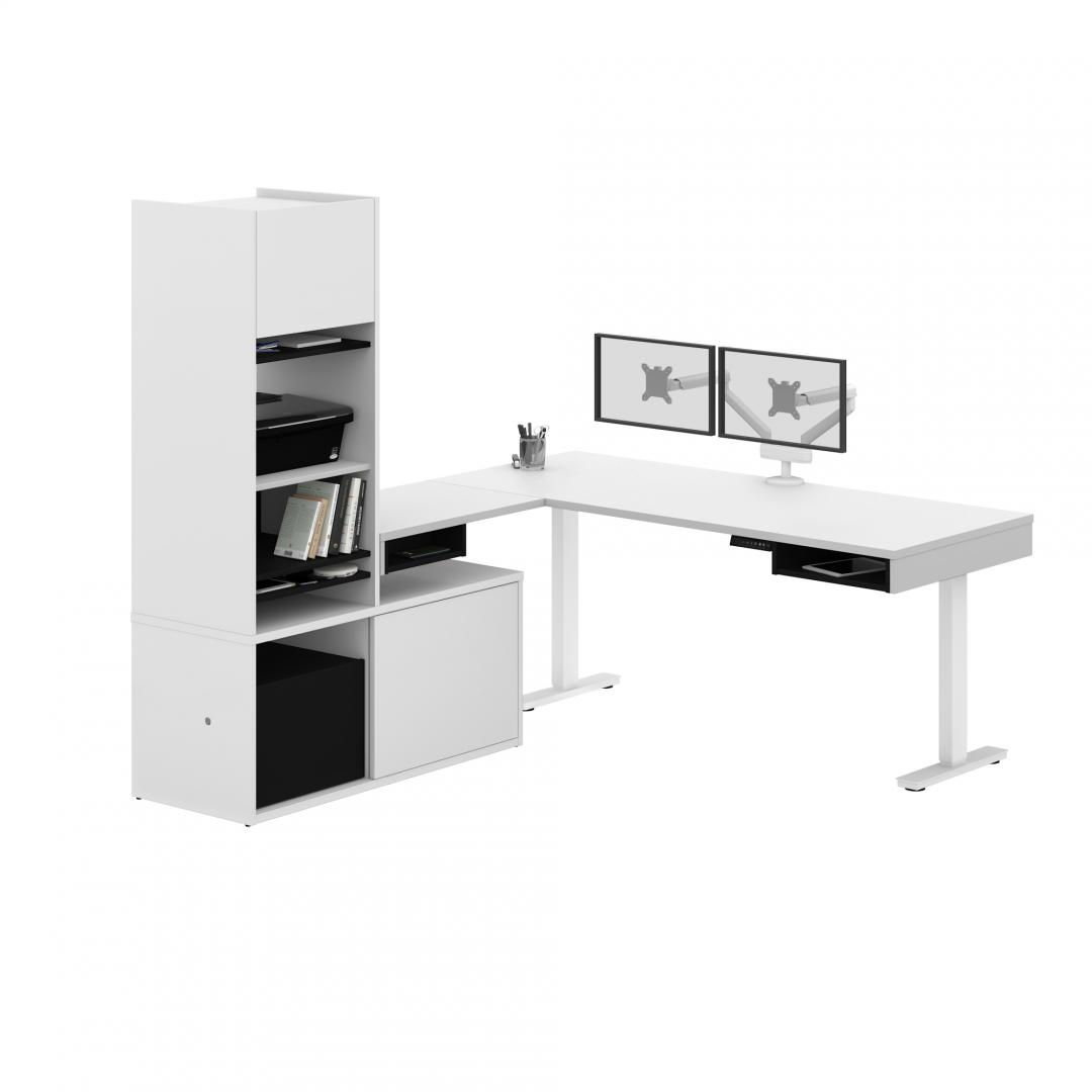 81W L-Shaped Standing Desk with Dual Monitor Arm, Credenza, and Hutch