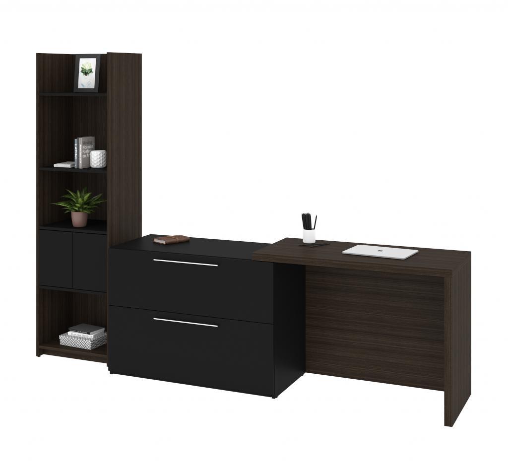 2-piece set including a small sliding desk and a shelving unit