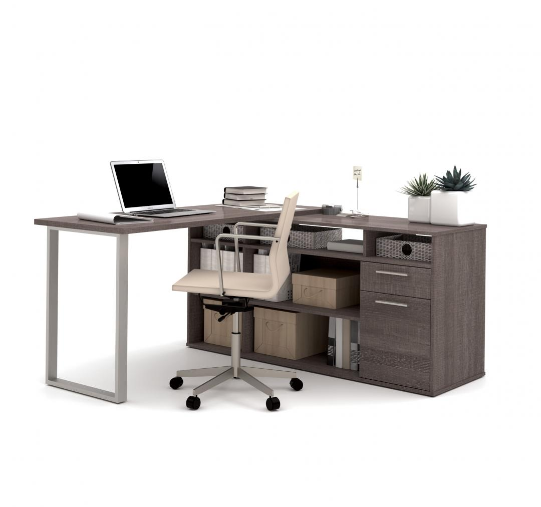 2-Piece Set including an L-Shaped Desk and a credenza