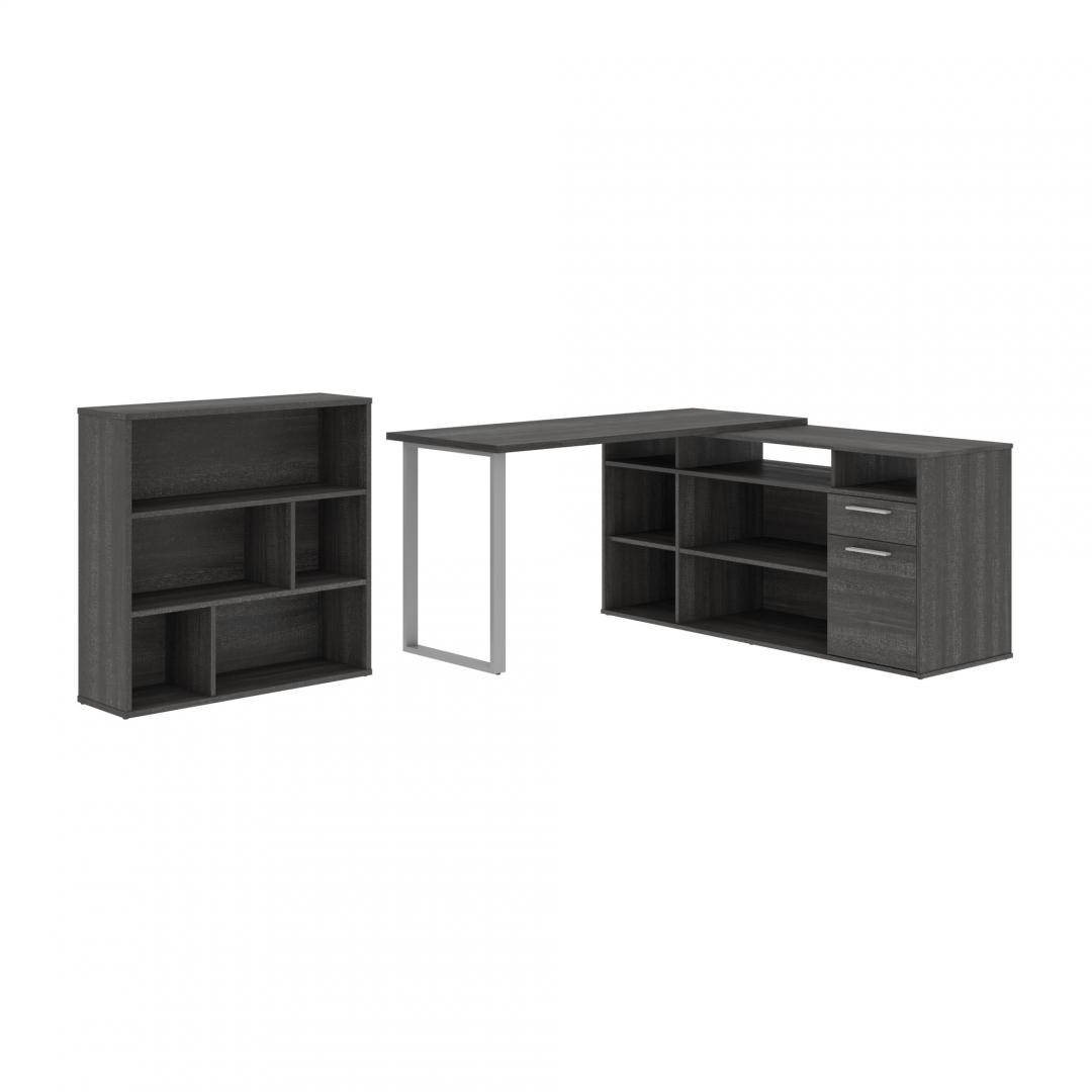 60W L-Shaped Desk with Asymmetrical Shelving Unit