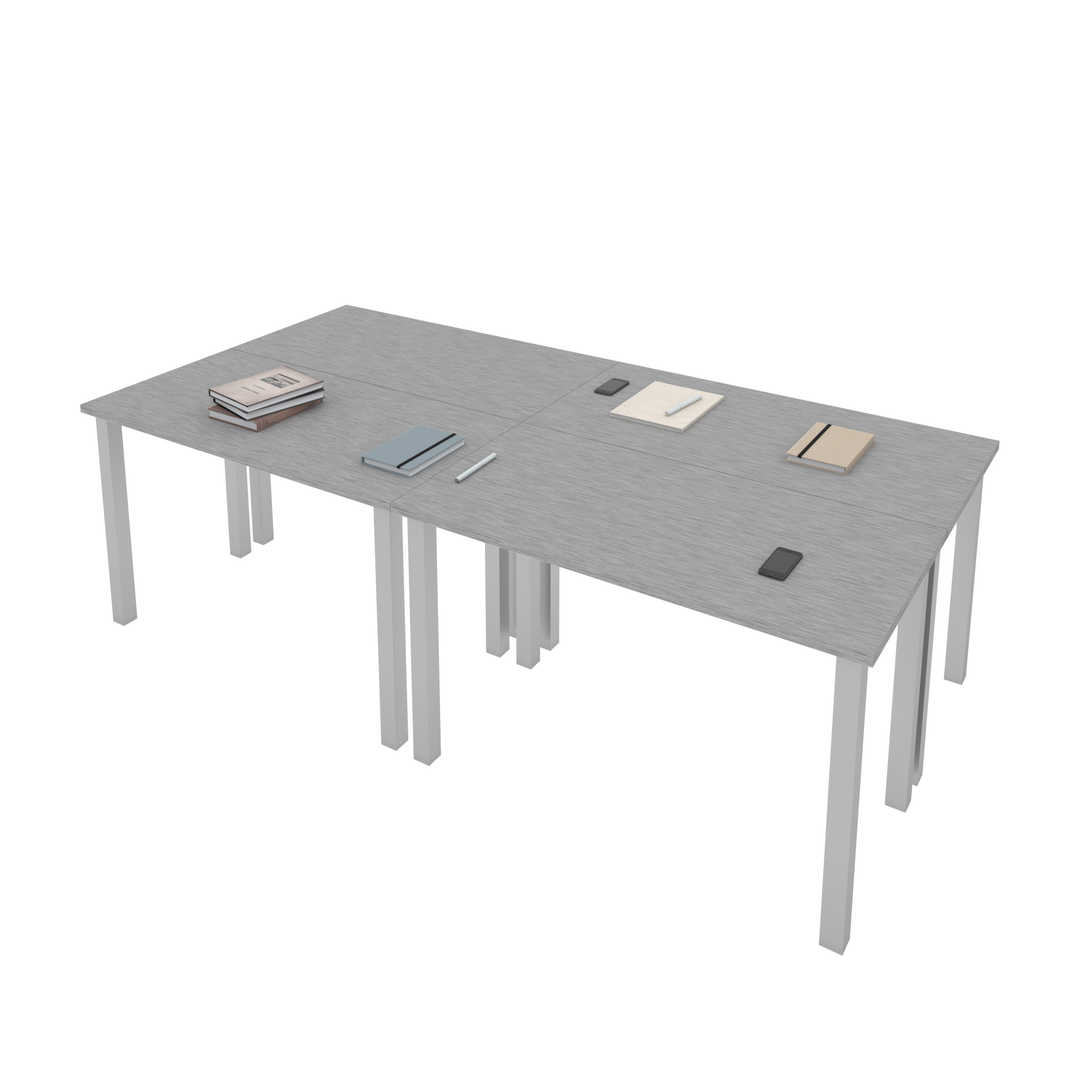 Four 48W x 24D Table Desks with Square Metal Legs