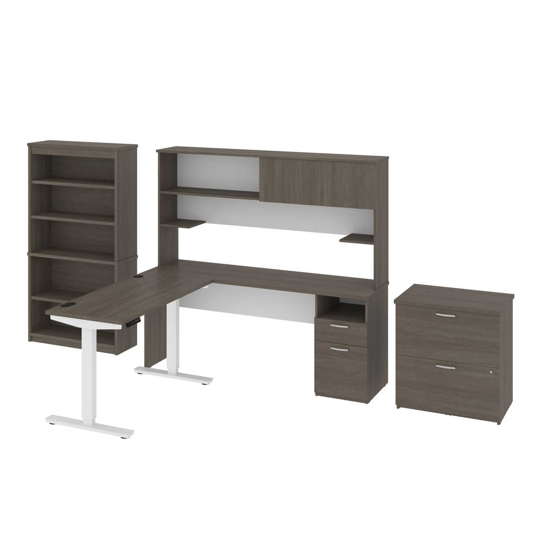 "24"" x 48"" Standing Desk, 1 Credenza with Hutch, 1 Bookcase, and 1 Lateral File Cabinet"