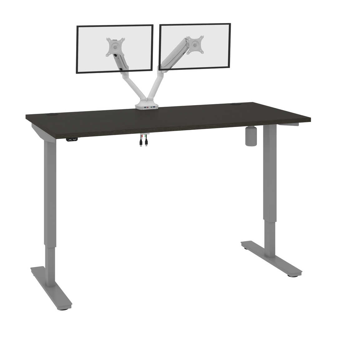 60W x 30D Standing Desk with Dual Monitor Arm