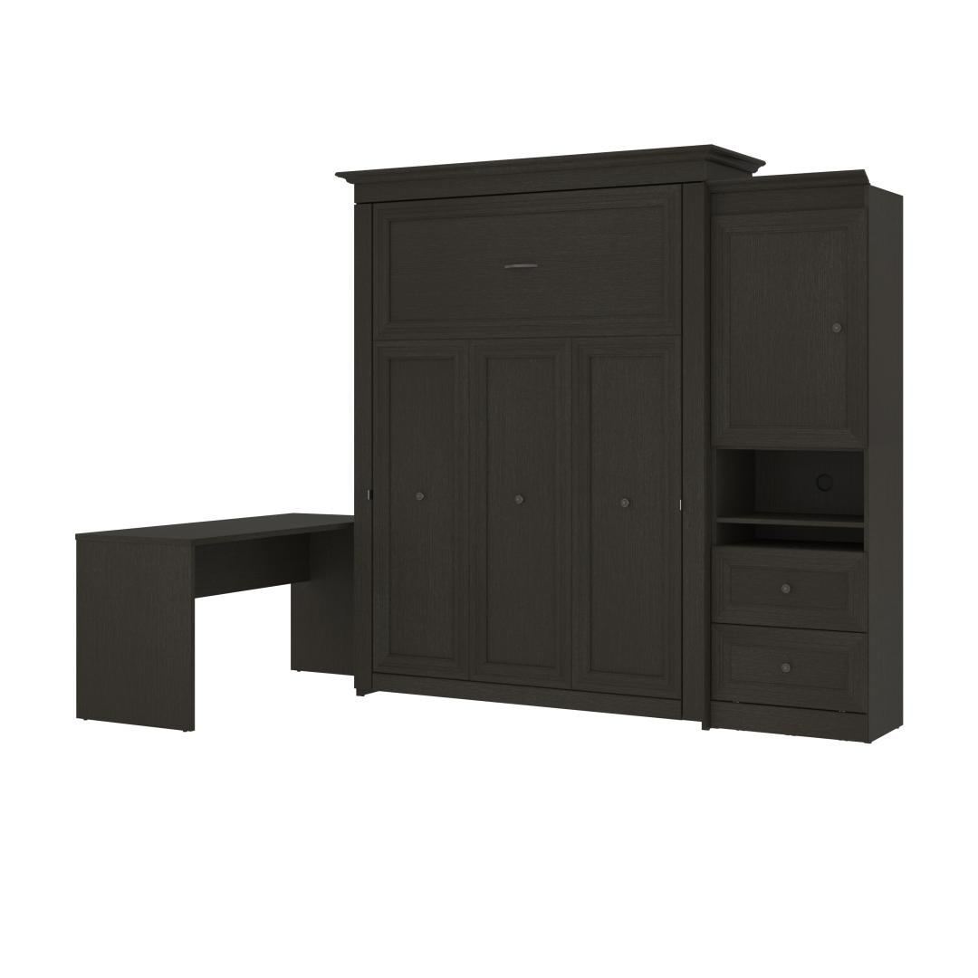 """Queen Murphy Bed and 1 Storage Unit with Mobile Nightstand and Desk (118"""")"""