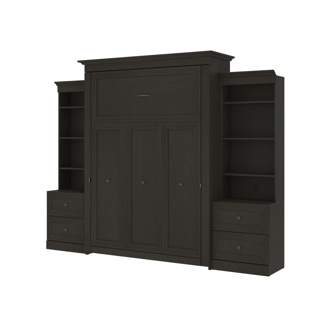 Queen Murphy Bed and Two Shelving Units with 2 Drawers (115W)