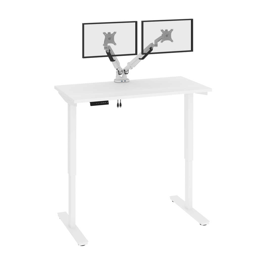 48W x 24D Electric Standing Desk with Monitor Arms